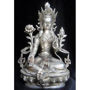 8-tibet-tibetan-silver-green-tara-goddess-statue-zmsx2063